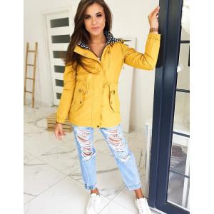 Štýlová žltá dámska prechodná bunda