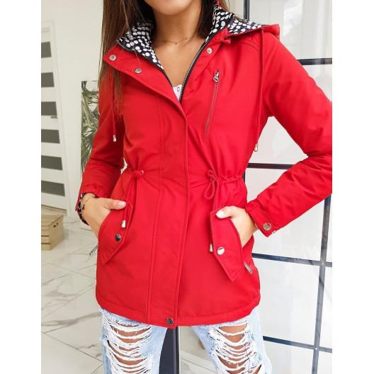 Krásna obojstranná červená prechodná bunda pre dámy
