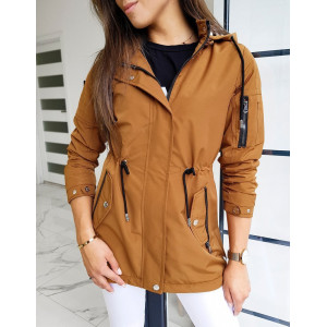 Hnedá dámska prechodná bunda štýlu parka