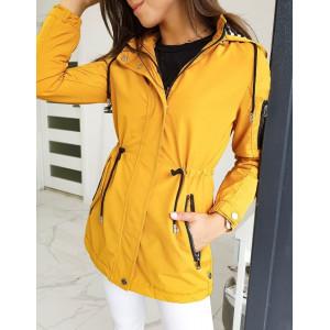 Žltá prechodná dámska bunda s kapucňou