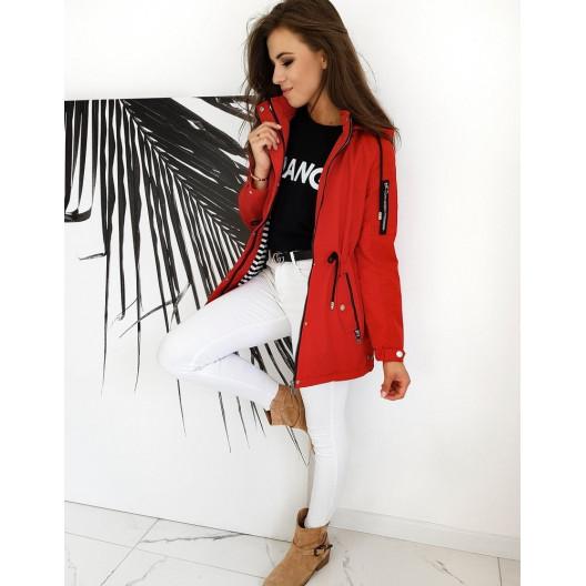 Červená moderná prechodná parka bunda pre ženy