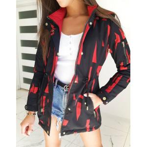 Červeno čierna obojstranná prechodná bunda s kapucňou