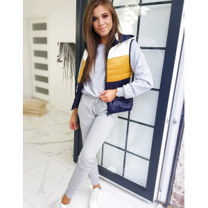 Navy modrá dámska moderná vesta s kapucňou