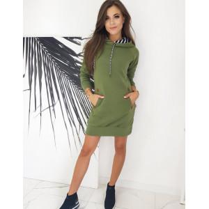 Krásne šaty pre dámy olivovej farby