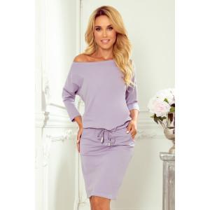 Jednofarebné dámske fialové šaty s bočnými vreckami