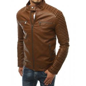 Pánska hnedá kožená bunda s módnym golierom