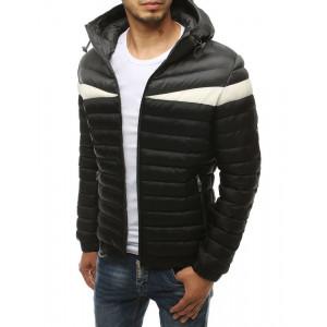 Pánska pohodlná prechodná bunda v čierno bielej farbe