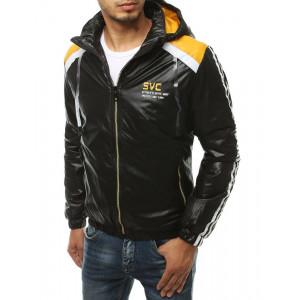 Čierna pánska jesenná bunda so zapínaním na zips