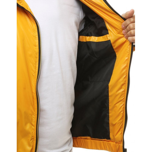 Športová pánska prechodná bunda žltej farby