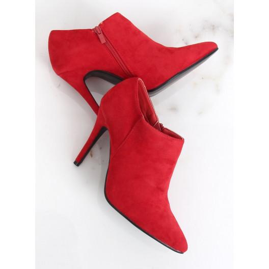 Dámske červené kotníkové topánky na vysokom opätku