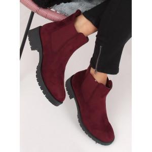 Dámske kotníkové nasúvacie topánky bordovej farby