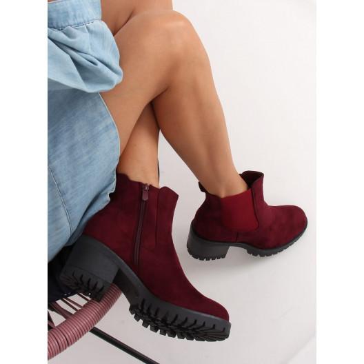 Bordové dámske kotníkové topánky na hrubom opätku