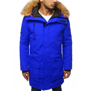 Modrá pánska zimná parka bunda s kapucňou