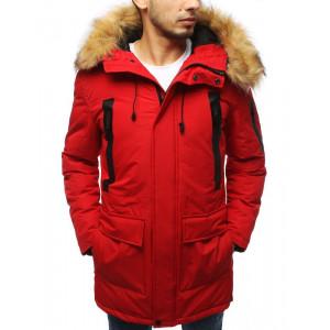 Červená pánska zimná bunda s kožušinou na kapucni