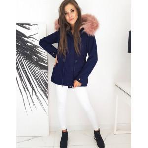 Modrá dámska zimná bunda parka s ružovou kožušinou