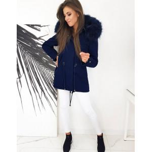 Štýlová dámska modrá bunda na zimu s modrou kožušinou