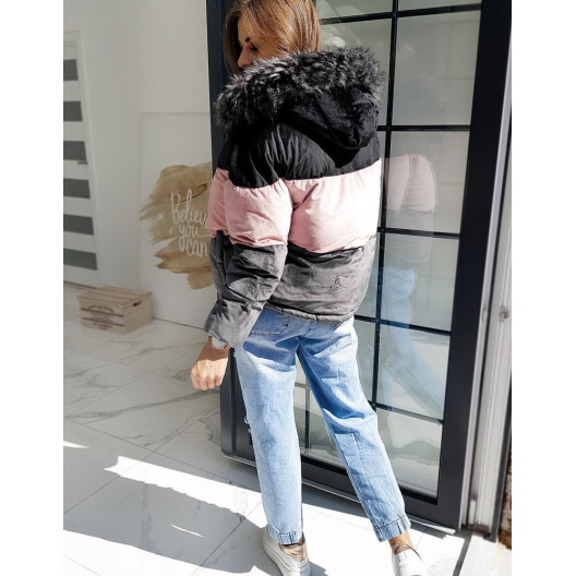 Originálna dámska čierna bunda s kožušinou MUST TRIO