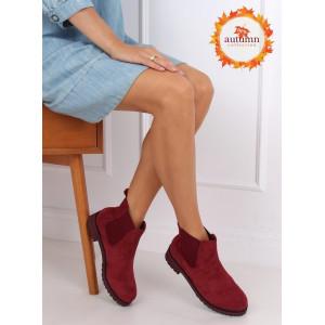 Pohodlné dámske semišové bordové kotníkové topánky