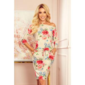 Krásne dámske béžové šaty s motívom kvetov
