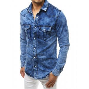 Svetlomodrá pánska moderná rifľová košeľa