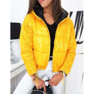 Žltá obojstranná prechodná bunda s kapucňou