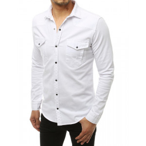 Basic biela pánska košeľa s dlhým rukávom a náprsnými vreckami