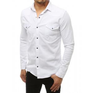 Regular fit pánska biela bavlnená košeľa s dlhým rukávom