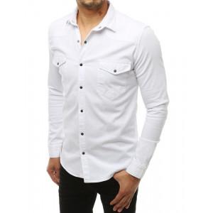 Biela pohodlná pánska košeľa s dlhým rukávom a zapínaním na cvoky
