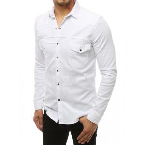 Biela štýlová pánska košeľa s dlhým rukávom
