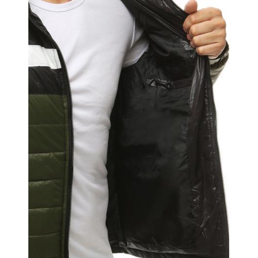 Nylonová prechodná bunda v čierno bielo zelenej farbe