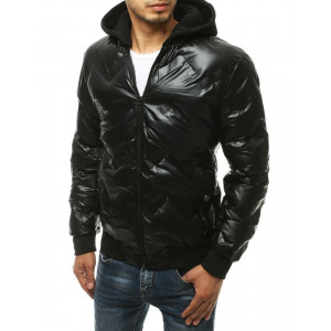 Krásna čierna zimná bunda so zipsom