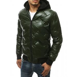 Pohodlná tmavozelená zimná bunda