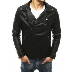 Trendová pánska kožená bunda čiernej farby