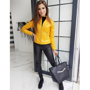 Unikátna dámska žltá kožená bunda so zapínaním na zips