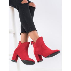 Štýlová dámska členková obuv červenej farby