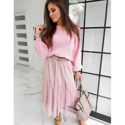 Midi ružová sukňa s  volánmi