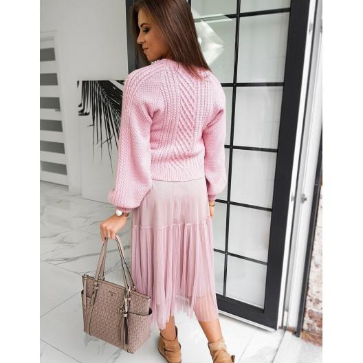 Pohodlný bavlnený dámsky sveter v rúžovej farbe