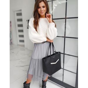 Pohodlný bavlnený dámsky sveter v bielej farbe