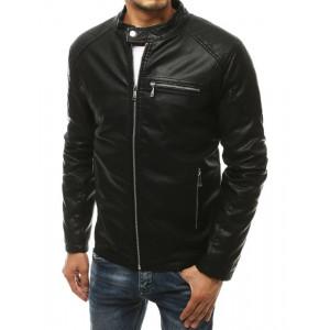 Štýlová pánska motorkárska čierna kožená bunda