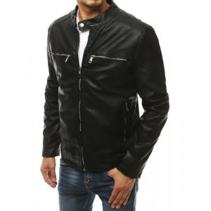 Čierna pánska kožená bunda bez kapucne