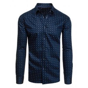 Bavlnená pánska košeľa vo farbách námorníckej modrej