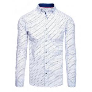 Spoločenská pánska biela košeľa s jemným modrým vzorom