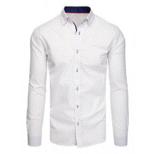 Biela pánska košeľa do spoločnosti s jemným vzorom