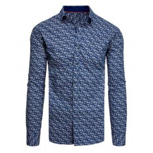 Krásna vzorovaná pánska košeľa s dlhým rukávom námornícka modrá