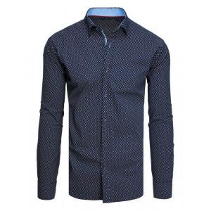 Elegantná tmavomodrá pánska košeľa so vzorom