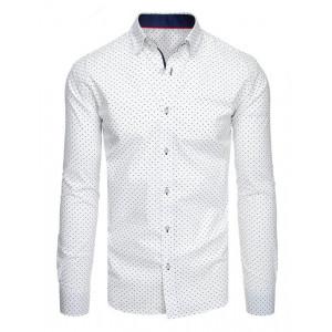 Biela pánska slim fit košeľa s dlhým rukávom
