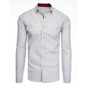 Pánska slim fit biela košeľa s dlhým rukávom a vzorom