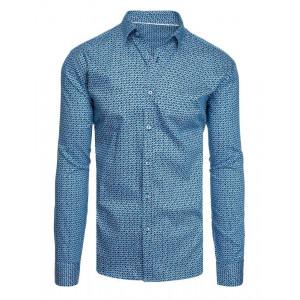 Moderná tmavomodrá vzorovaná košeľa s dlhým rukávom
