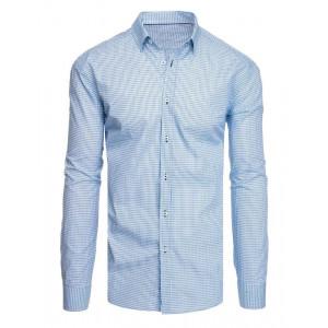 Slim fit pánska modrá košeľa so vzorom a dlhým rukávom
