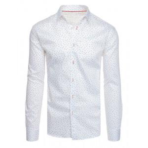 Elegantná biela pánska košeľa so vzorom a dlhým rukávom
